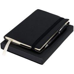 Set cadou pix si carnetel 80 pagini cu liniatura, Luxe by AleXer, NK, carton si piele ecologica, negru, breloc inclus