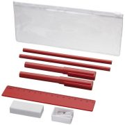 Mindy 8-piece Pencil case set, ABS and ASS and PS plastic, Red
