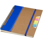 Josie A5 recycled notebook, Recycled cover and pages with PP ruler and iron rings, Blue