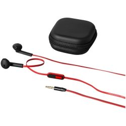 Fusion earbuds, ABS Plastic, solid black, Red