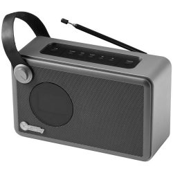 Whirl Alarm Clock Radio, Metal and ABS Plastic, solid black, Silver