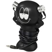 Best friend earbuds with amusing coiling stand, ABS Plastic, solid black