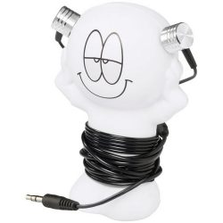 Best friend earbuds with amusing coiling stand, ABS Plastic, White