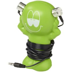Best friend earbuds with amusing coiling stand, ABS Plastic, Lime