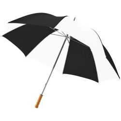 """Karl 30"""" umbrella with wooden handle, Polyester,  Shiny black,White"""
