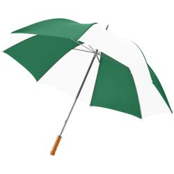 """Karl 30"""" umbrella with wooden handle, Polyester, Green,White"""
