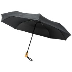 """Bo 21"""" fold. auto open/close recycled PET umbrella, Recycled PET Pongee polyester,  solid black"""