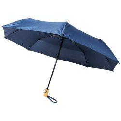 """Bo 21"""" fold. auto open/close recycled PET umbrella, Recycled PET Pongee polyester, Navy"""