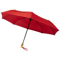 """Bo 21"""" fold. auto open/close recycled PET umbrella, Recycled PET Pongee polyester, Red"""