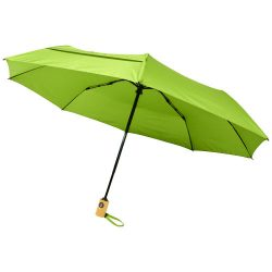 """Bo 21"""" fold. auto open/close recycled PET umbrella, Recycled PET Pongee polyester, Lime"""