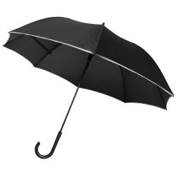 "Felice 23"" auto open windproof reflective umbrella, Pongee polyester,  solid black"