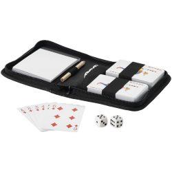 Set carti de joc, zaruri, carentel, creion si husa, Everestus, TX, 600D poliester, negru, saculet de calatorie inclus