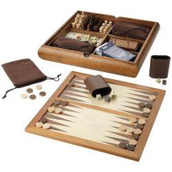 Set jocuri de masa 6-in-1, Everestus, TR, lemn, maro, saculet de calatorie inclus
