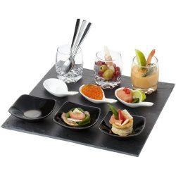 Culi 13-piece amuse-bouche set, Slate, ceramic, glass and metal, solid black,White