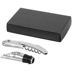 Sauvy 2-piece wine set, Stainless steel, Silver