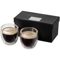 Set 2 cesti de expresso 80 ml, Everestus, BA, sticla, transparent, saculet de calatorie inclus