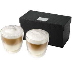 Set 2 cesti de cafea 200 ml, Everestus, BA, sticla, transparent, saculet de calatorie inclus