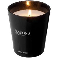 Lumanare parfumata lemn de santal, Seasons by AleXer, LR02, sticla, negru, laveta inclusa