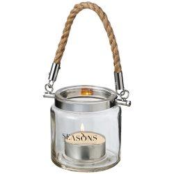 Suport lumanare din sticla cu agatatoare, Seasons by AleXer, SO01, transparent, breloc inclus