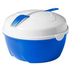 Caserola pentru salata, Everestus, CAE24, plastic, albastru, alb, saculet sport inclus