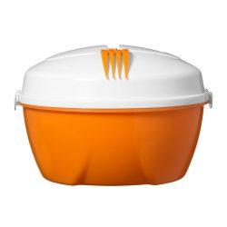 Caserola salata cu farfurie compartimentata si furculita, Everestus, CAE54, plastic, portocaliu, alb, saculet sport inclus