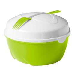 Caserola pentru salata, Everestus, CAE25, plastic, verde lime, alb, saculet sport inclus