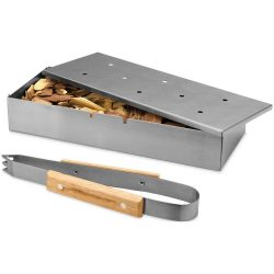 Pitts BBQ smoker box set, Stainless steel and wood, Silver
