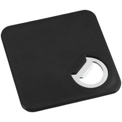 Rally coaster and bottle opener, ABS plastic, solid black