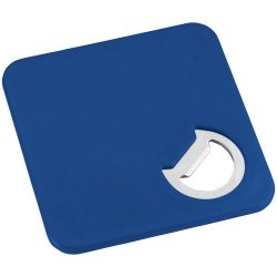 Rally coaster and bottle opener, ABS plastic, Royal blue