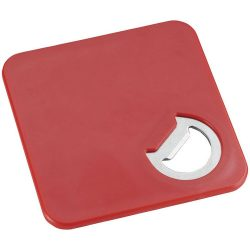Rally coaster and bottle opener, ABS plastic, Red