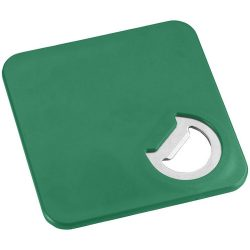Rally coaster and bottle opener, ABS plastic, Green