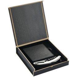 Set accesorii vin 5 piese, Everestus, MO, lemn, otel inoxidabil si piele ecologica, negru