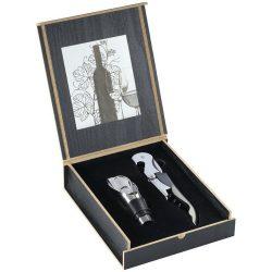 Set accesorii vin 2 piese, tirbuson si dop, Everestus, BO, lemn si otel inoxidabil, negru, argintiu, saculet de calatorie inclus