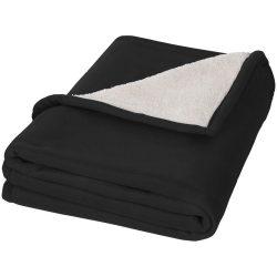 Patura tartan 150x125 cm, lana moale, Everestus, SD04, 140 g/mp lana polar, 180 g/mp lana sherpa, negru, alb, saculet inclus
