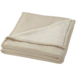Patura tartan 150x125 cm, lana moale, Everestus, SD01, 140 g/mp lana polar si 180 g/mp lana sherpa, alb, saculet inclus