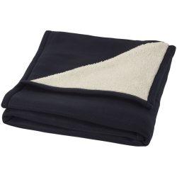 Patura tartan 150x125 cm, lana moale, Everestus, SD02, 140 g/mp lana polar si 180 g/mp lana sherpa, albastru, saculet inclus
