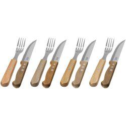 Set tacamuri, 8 piese, Jamie Oliver by AleXer, JO, lemn acacia si otel inoxidabil, lemn, breloc inclus din piele ecologica