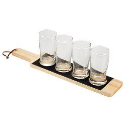 Platou de servit bauturi cu 4 pahare incluse de 250 ml, Everestus, CS, lemn si sticla, saculet de calatorie inclus