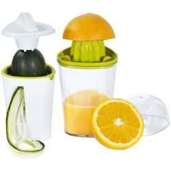 Juicee 2-in-1 juicer and spiral slicer set, Plastic and stainless steel, White