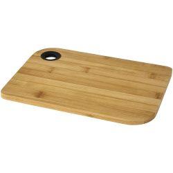 Tocator pentru alimente 25x18x1 cm, Everestus, TB06, bambus, silicon, maro, saculet de calatorie inclus