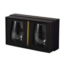 Set 2 pahare de vin inscriptionabile, Everestus, BA, sticla, transparent, saculet de calatorie inclus