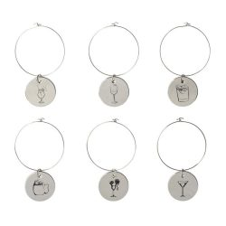 Marla decorative drink charms, Metal, Silver