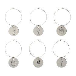 Set 6 marcaje pentru bauturi, in cutie cadou, Everestus, MA01, metal, argintiu, saculet de calatorie inclus