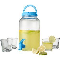 Set dispenser bauturi, 5 piese, Everestus, FI, sticla, transparent