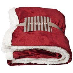 Lauren sherpa fleece plaid blanket, 190 g/m² Mircoplush fleece and 180 g/m² Sherpa fleece, Burgundy