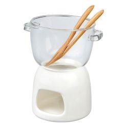 Set fondue ciocolata, Everestus, GS01, sticla, portelan si bambus, alb