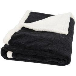 Patura tartan lana 150x125 cm, Everestus, SM02, 200 grame/mp lana polar si 180 grame/mp lana sherpa, negru, saculet sport inclus