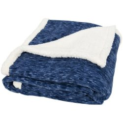 Patura tartan lana 150x125 cm, Everestus, SM01, 200 grame/mp lana polar si 180 grame/mp lana sherpa, albastru