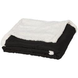 Patura tartan sherpa 152x127 cm, Everestus, FR03, 70 grame/mp microfibra si 180 grame/mp lana sherpa, negru