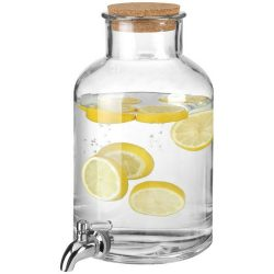 Dispenser pentru bauturi, 5 L, Jamie Oliver, sticla si pluta, transparent